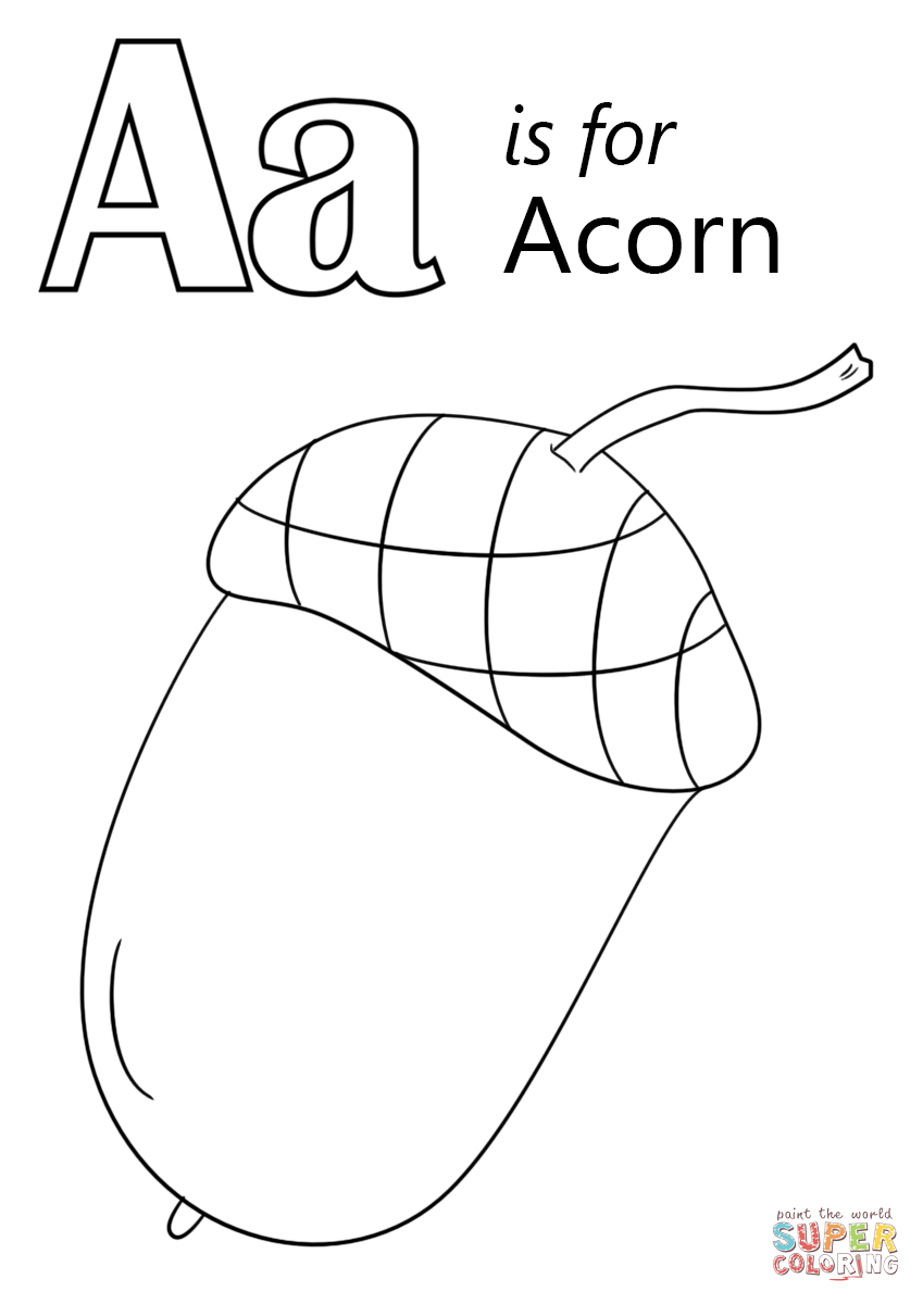 Letter A Is For Acorn Coloring Page