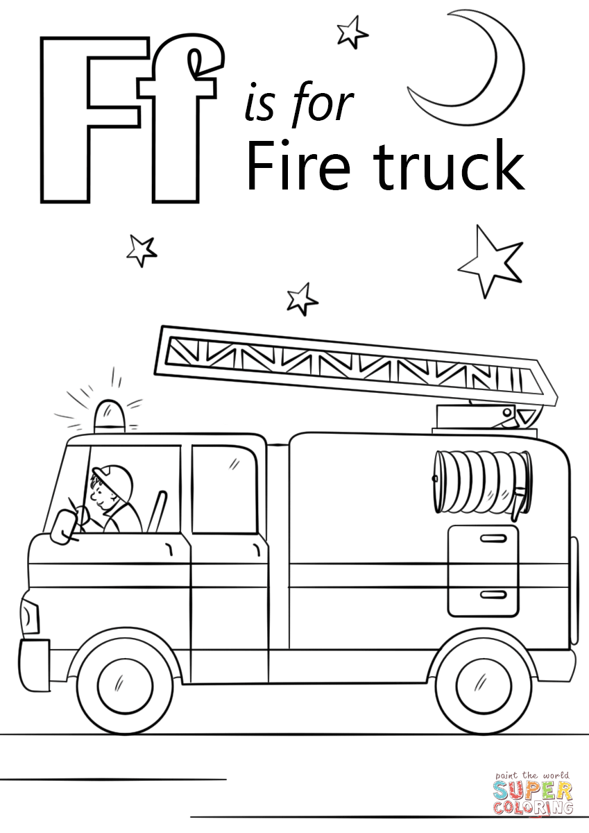 Letter F Is For Fire Truck Coloring Page