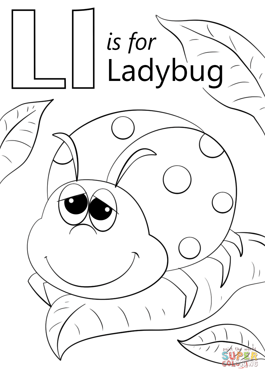 Letter L Is For Ladybug Coloring Page Free Printable Coloring
