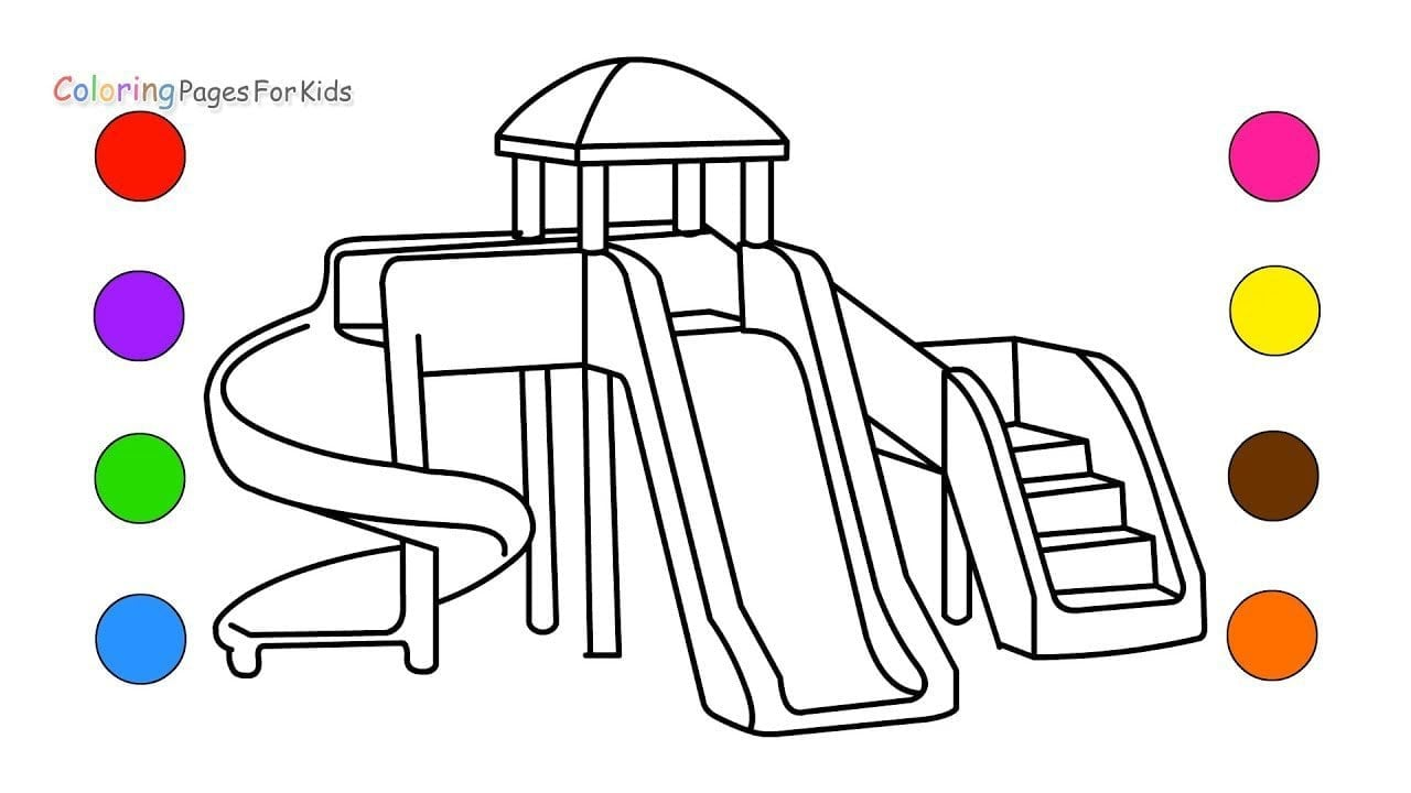 How To Draw Playground Coloring Pages For Kids