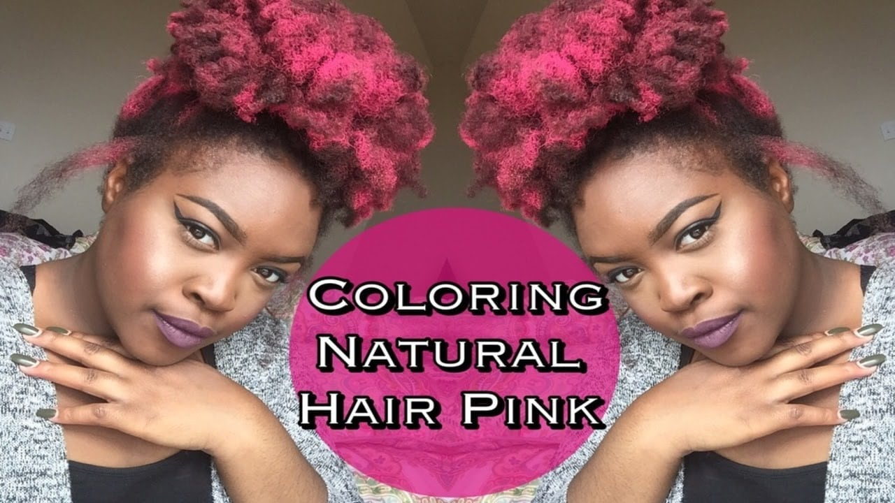 How To  Color Natural Hair Pink [no Dye] + Jerome Russel Coloring