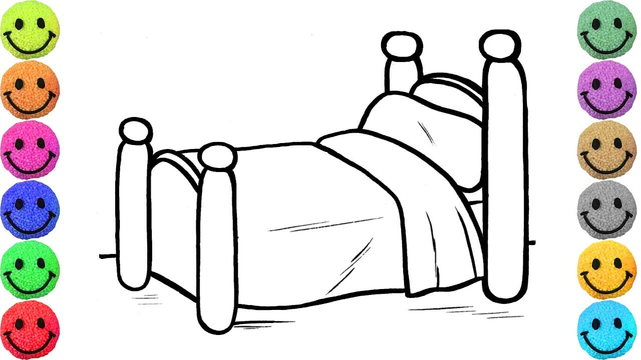 Cute Bed Coloring Pages