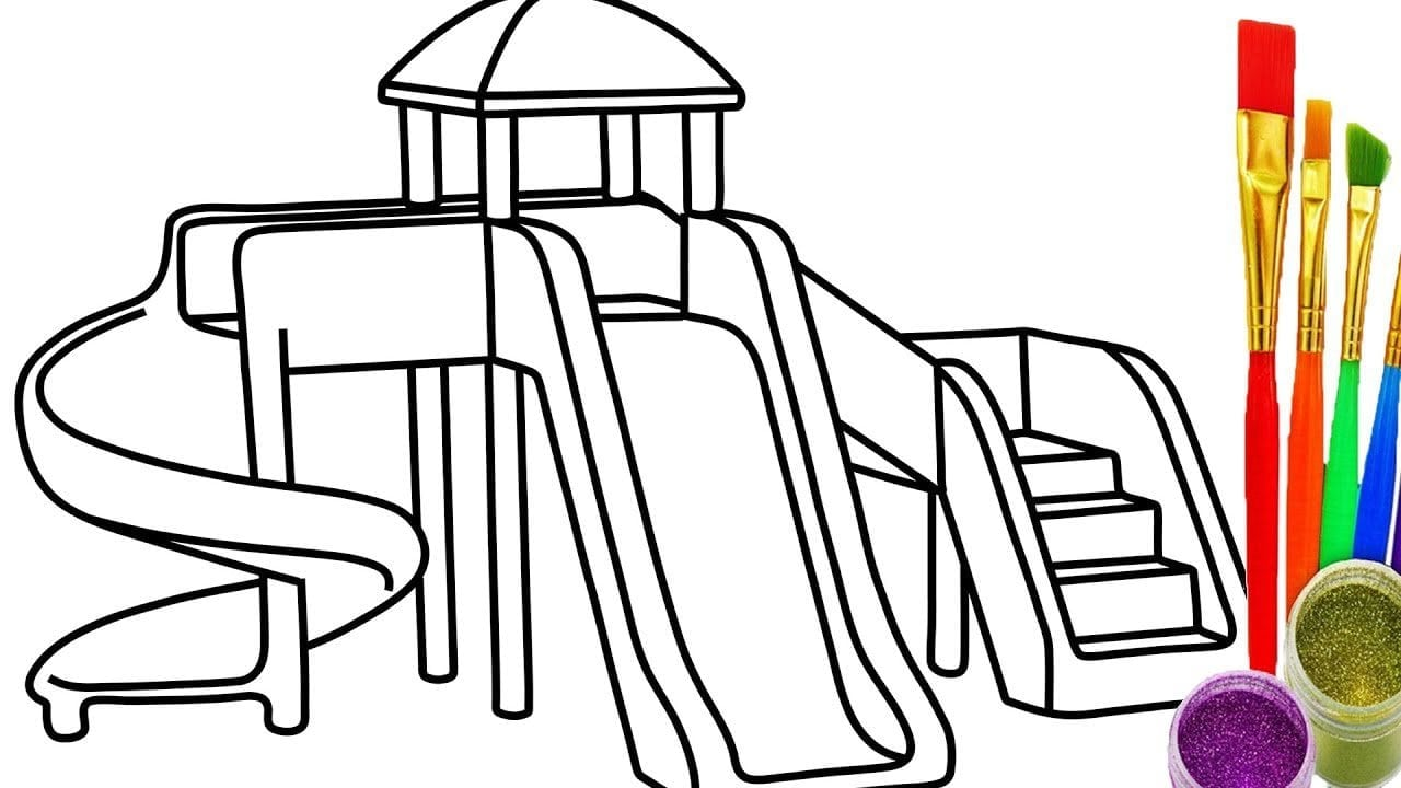 How To Draw Sliding Playground Kid