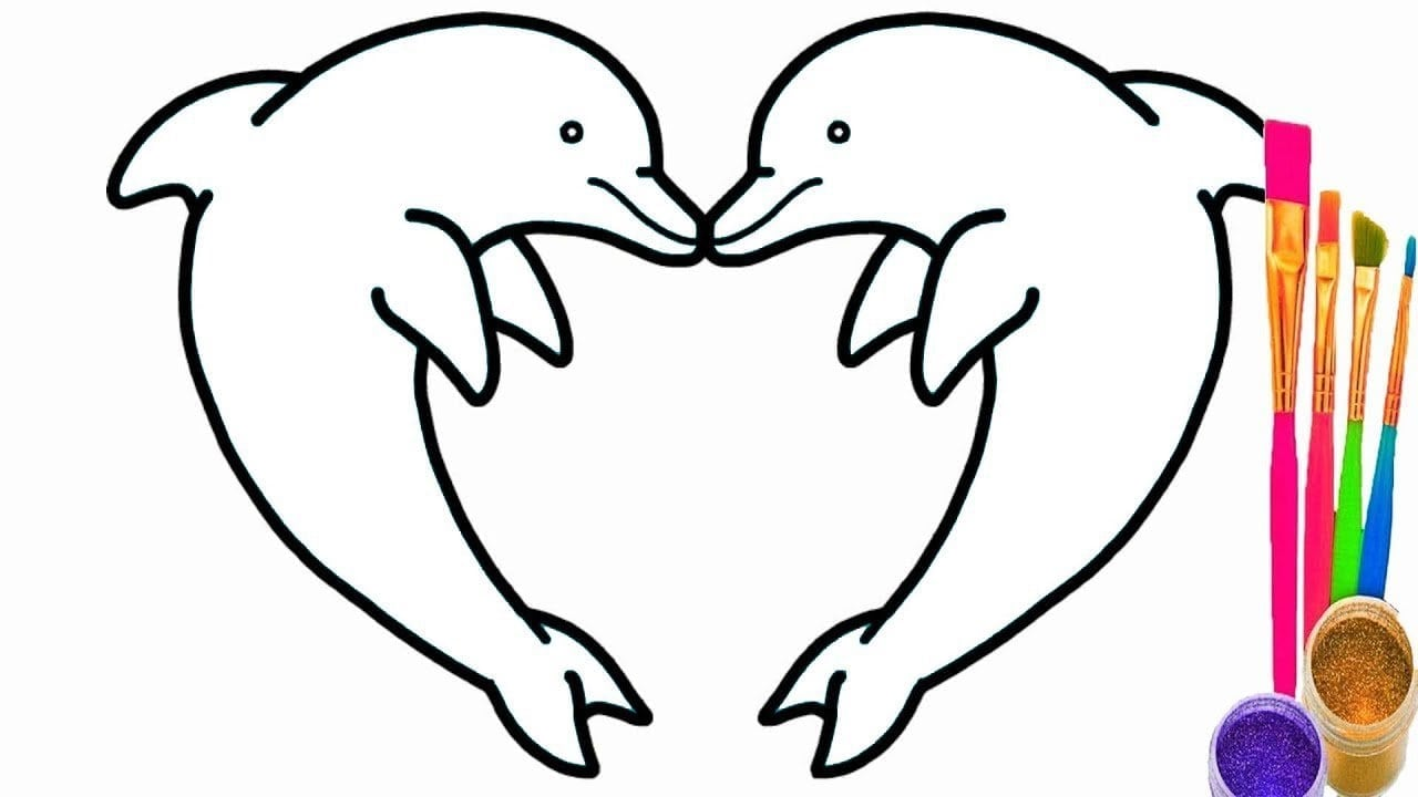 Dolphin Heart Coloring Pages