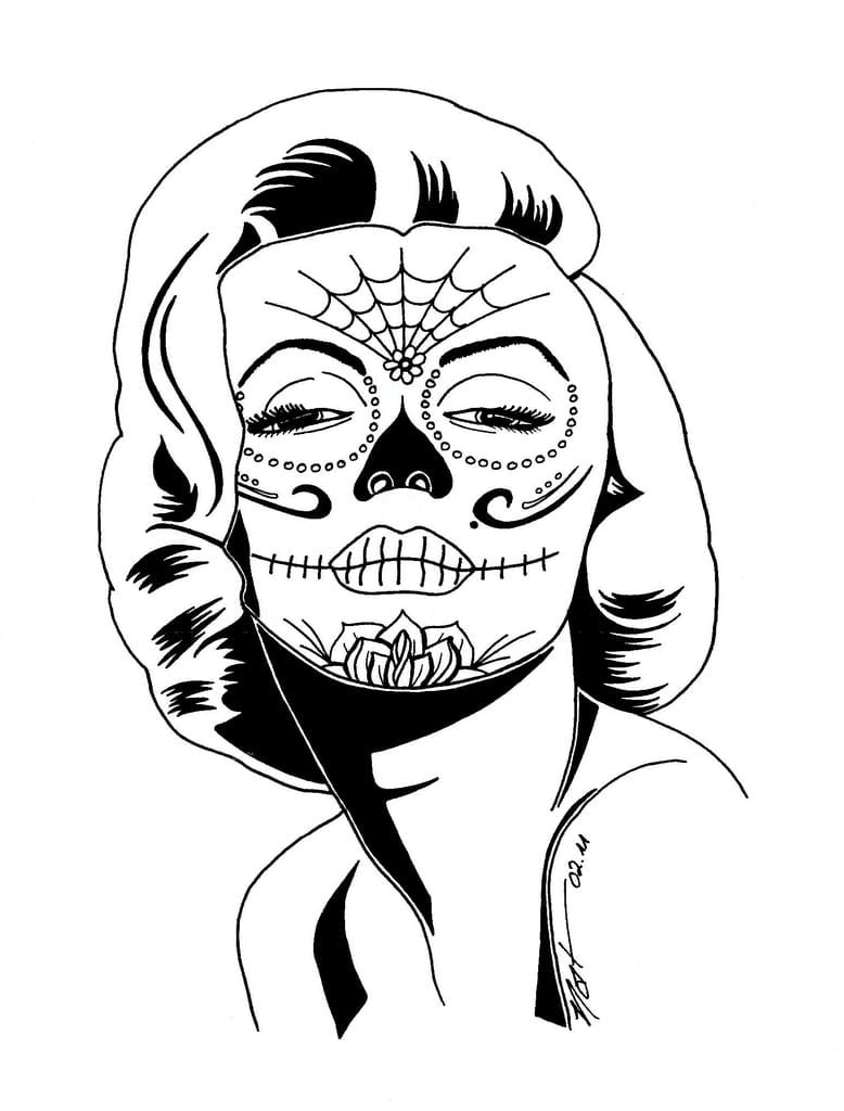 Monroe Sugar Skull Natalie Hanss Line Research Neo Coloring And