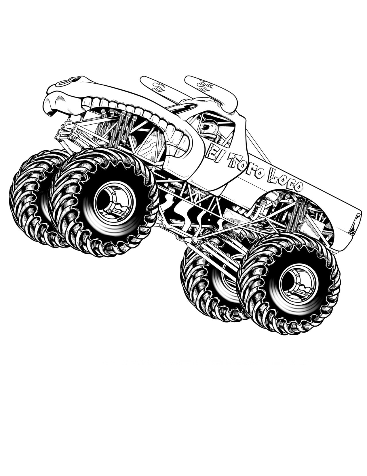 Monster Truck Coloring Page And Grave Digger Color Pages