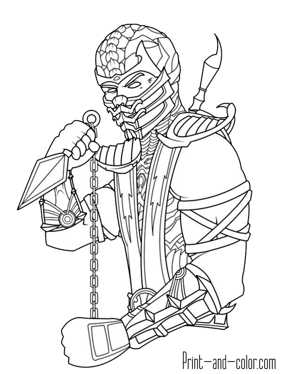 Mortal Kombat 008 And Scorpian Coloring Page