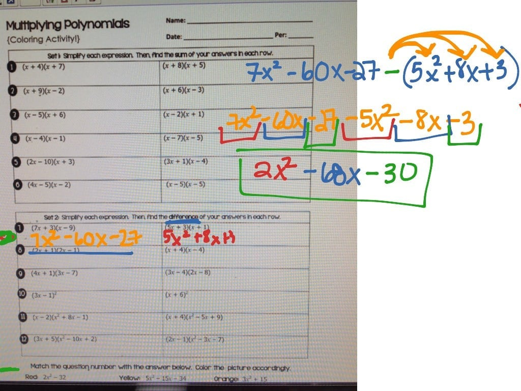 Multiplying Polynomials Coloring Activity Images – Wurzen