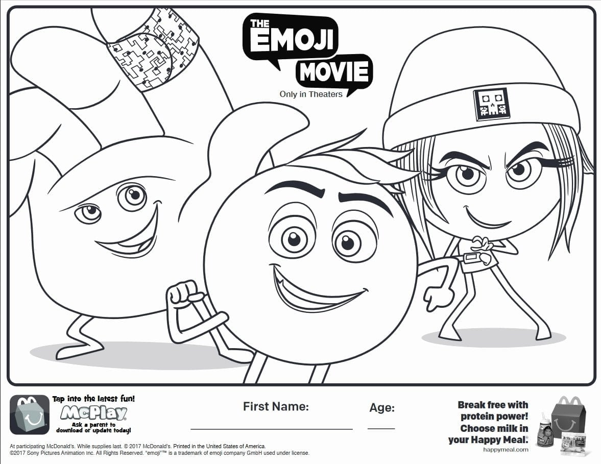 My Coloring Book Awesome Here Is The Happy Meal The Emoji Movie