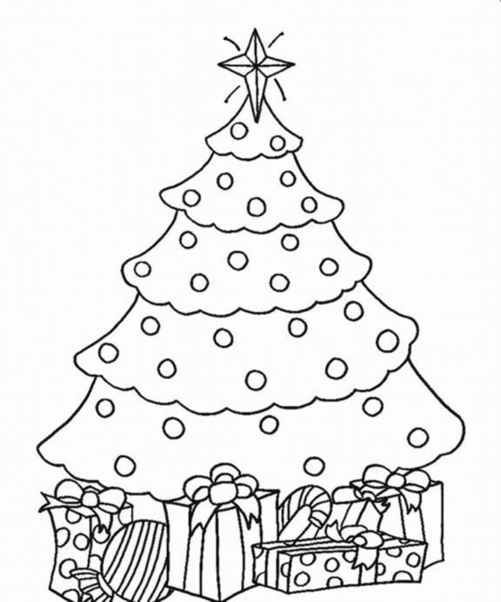 New Fir Tree Coloring Page Christmas Drawing F  3218