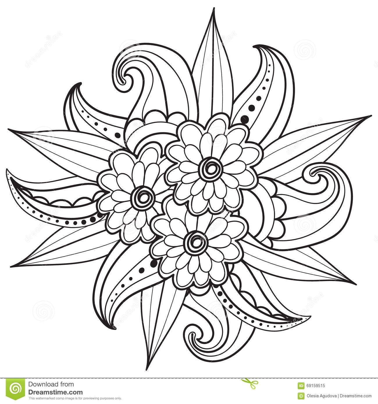 Pages For Adult Coloring Book Hand Drawn Ornamental Patterned At