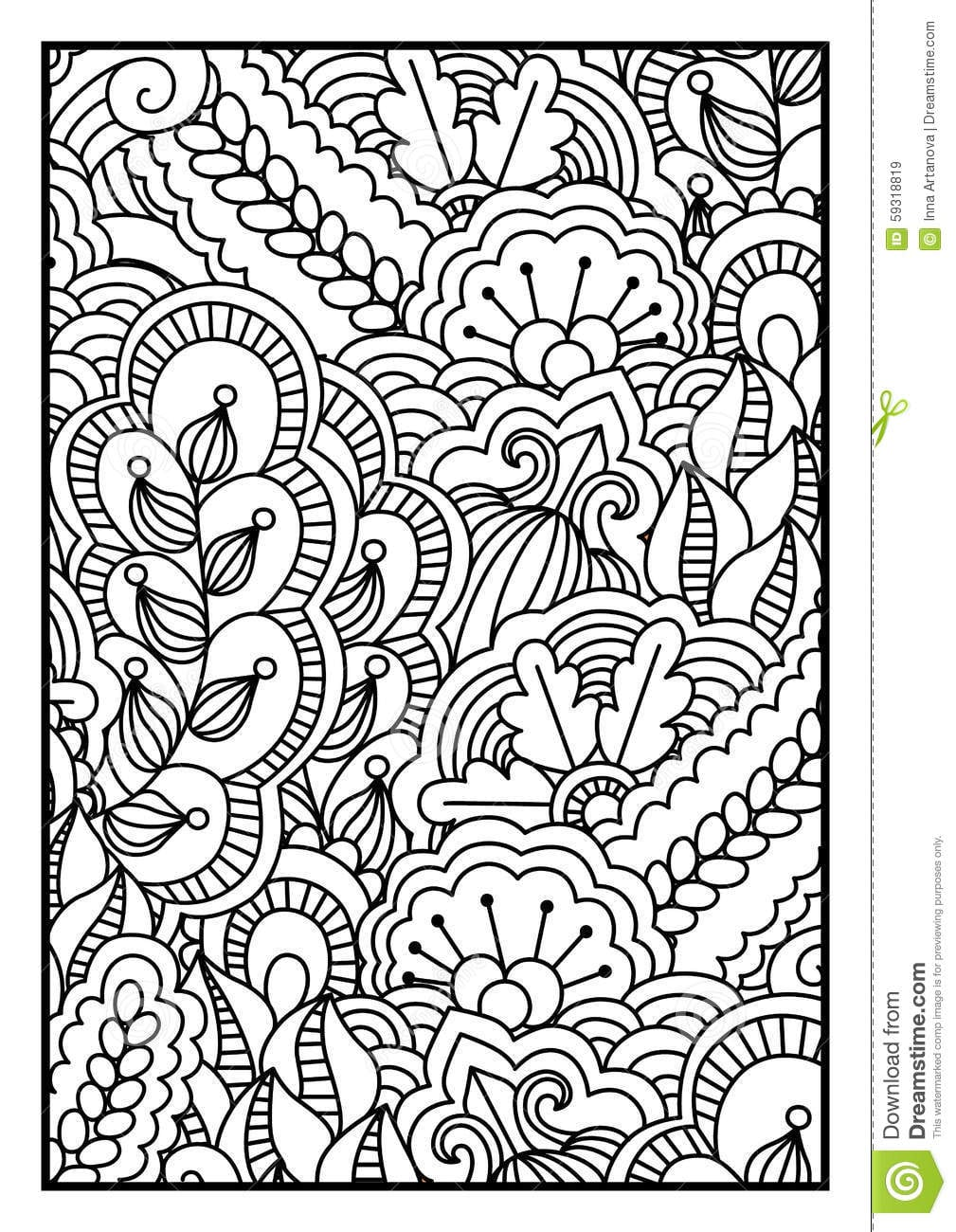 Pattern Coloring Book For Black And White Background With Floral