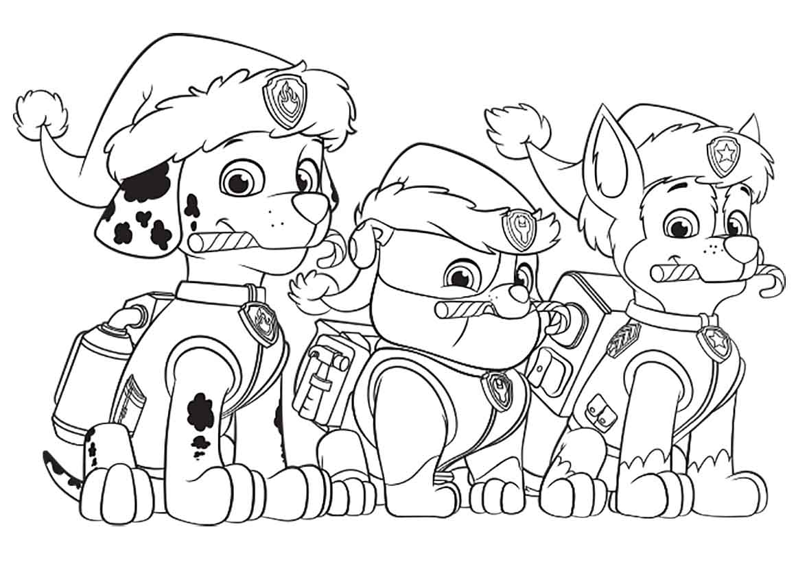 Paw Patrol Christmas Party Coloring Page Pages