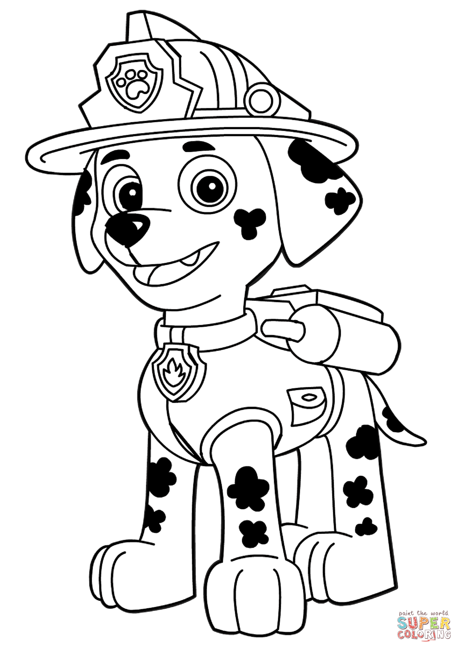 Paw Patrol Marshall Coloring Page Free Printable Pages With