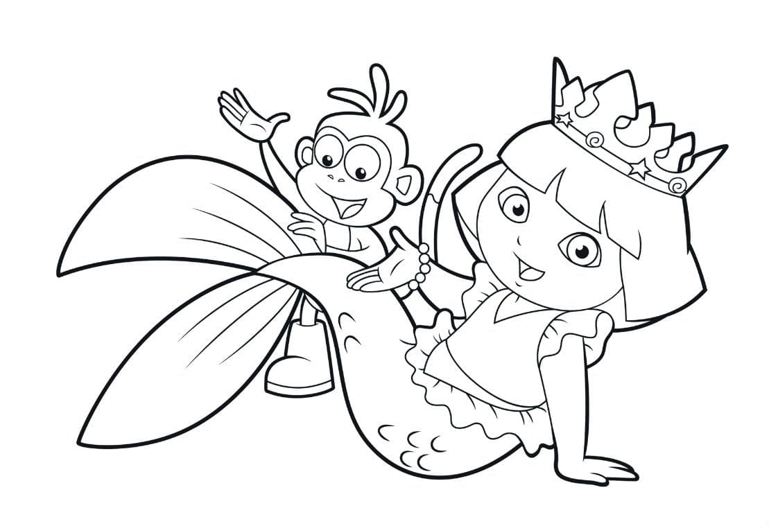 Perfect Hiwh At Dora Coloring Pages On With Hd Resolution 1109x759