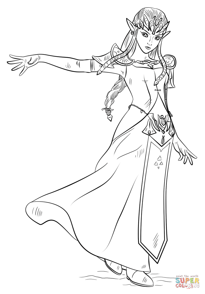 Princess Zelda Coloring Page Free Printable Coloring Pages