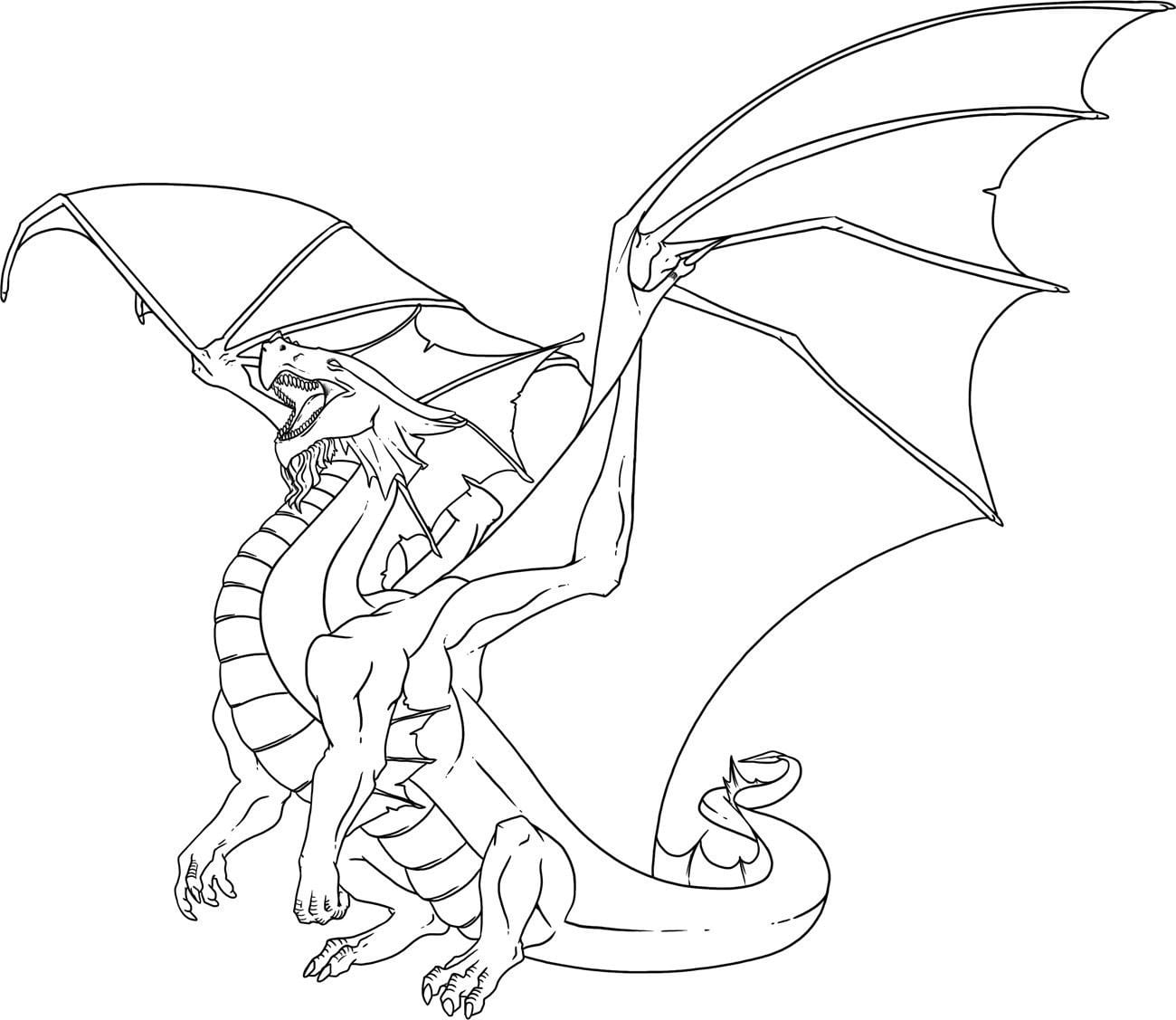 Printable Dragon Coloring Pages Free For Kids In Adult