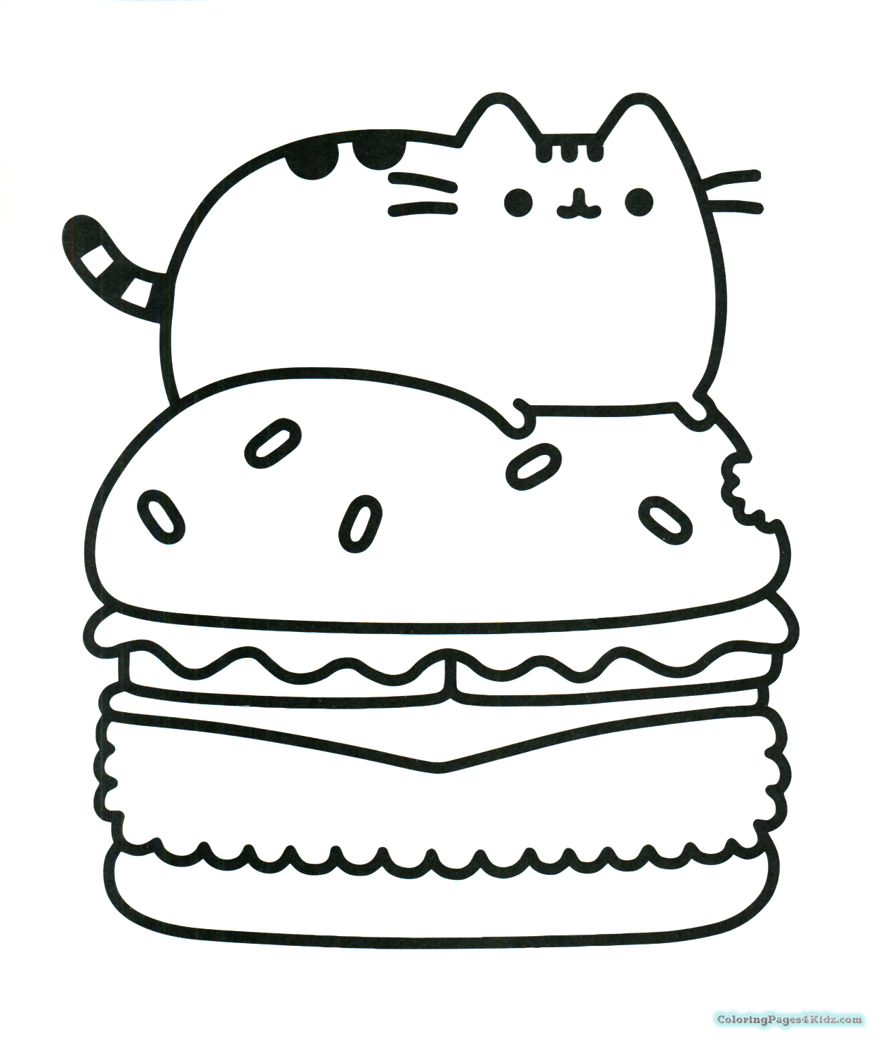 Pusheen Cat On A Hamburger Coloring Pages