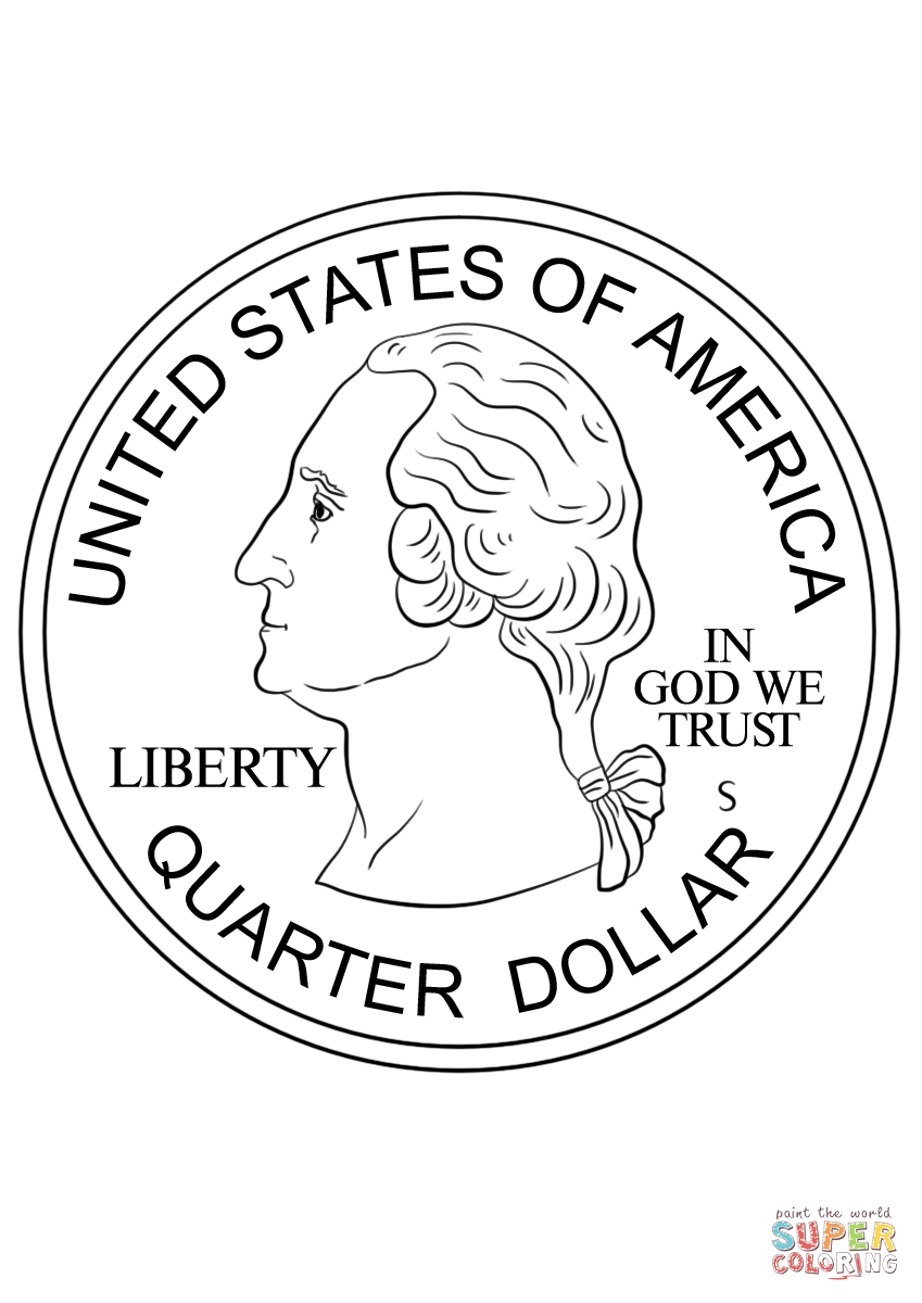 Quarter Coin Coloring Page