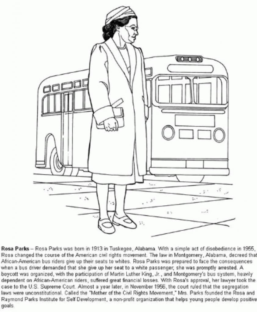 Rosa Parks Coloring Page Best Pages Adresebitkisel Com Within Of
