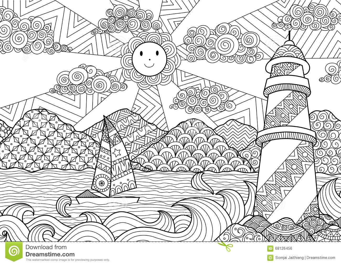 Seascape Line Art Design For Coloring Book For Adult, Anti Stress
