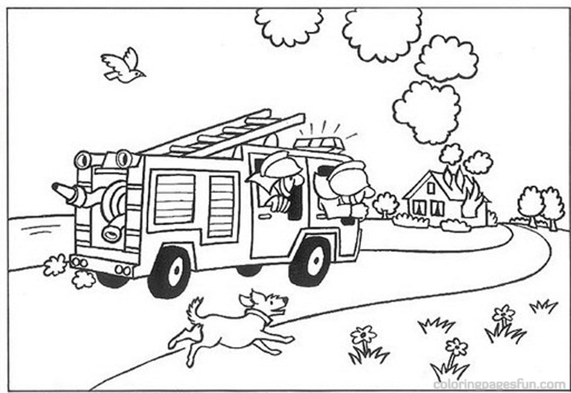 Security Fire Fighter Coloring Page With Pages  21891