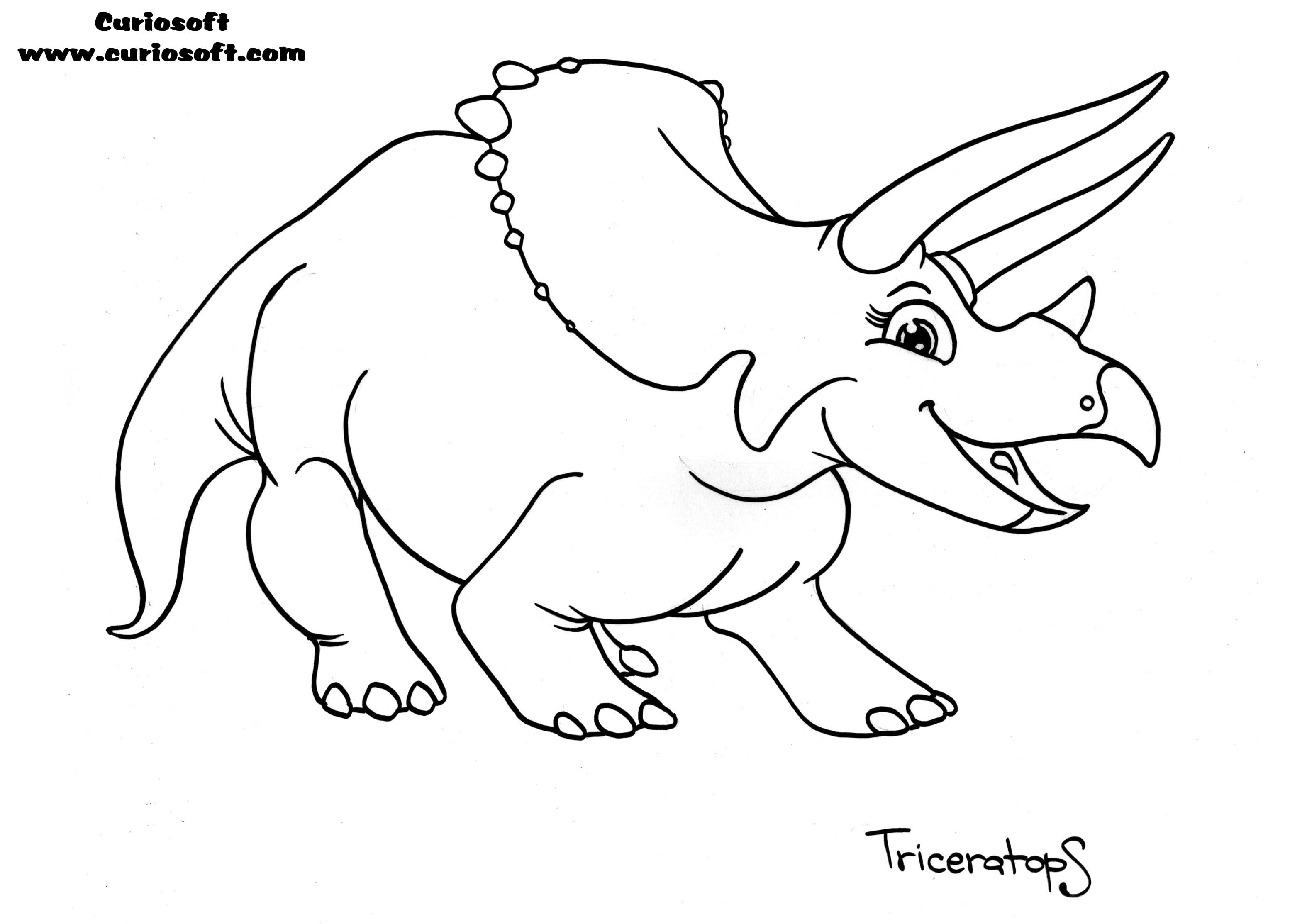 Sturdy Triceratops Coloring Page With Free Printable  234
