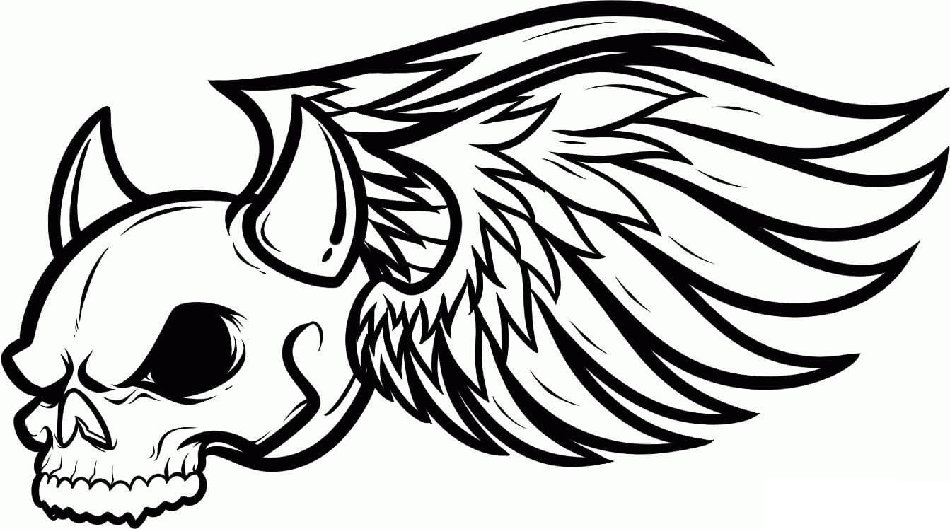 Skull Wings Coloring Pages For Picture