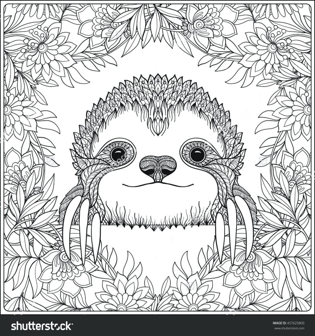Coloring Page ~ Sloth Coloring Page Pages Giant Ground Sloth