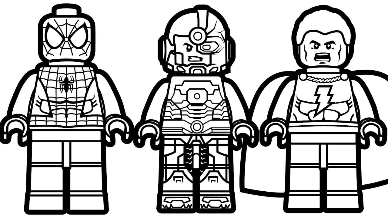 Smart Design Lego Coloring Pages Spiderman Vs Shazam Cyborg For