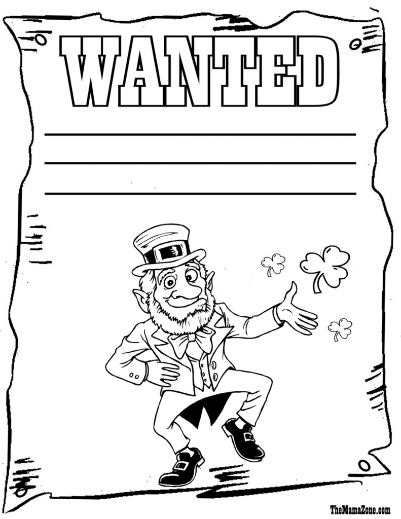Soar Leprechaun Coloring Pages To Print Free Irish Az Shamrock For