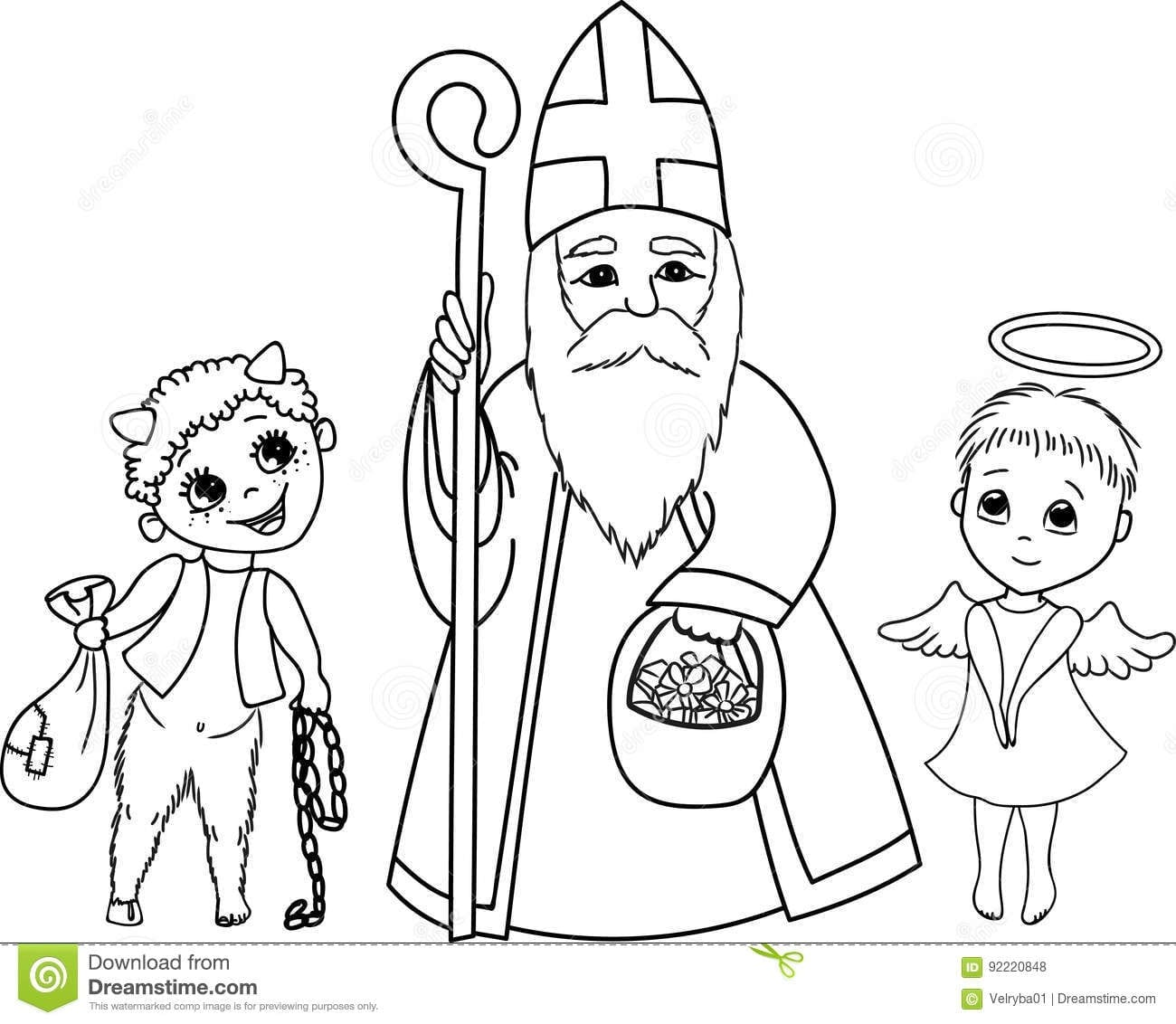 St  Nicholas, Angel And Devil  Stock Vector
