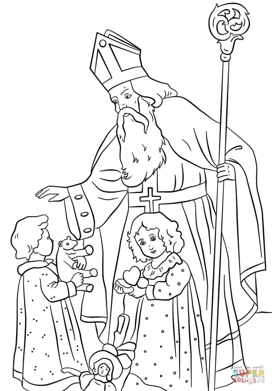St Nicholas Coloring Page St Nicholas Greets Children Coloring