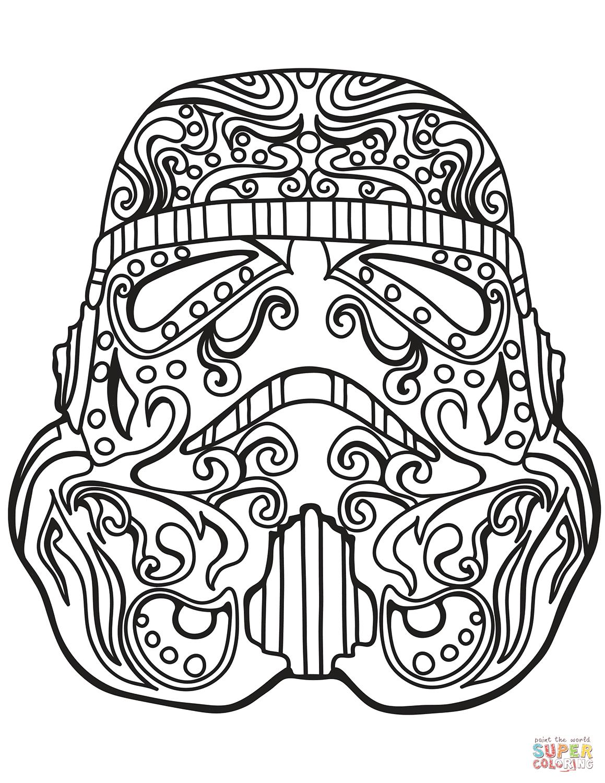Star Wars Stormtrooper Sugar Skull Coloring Page