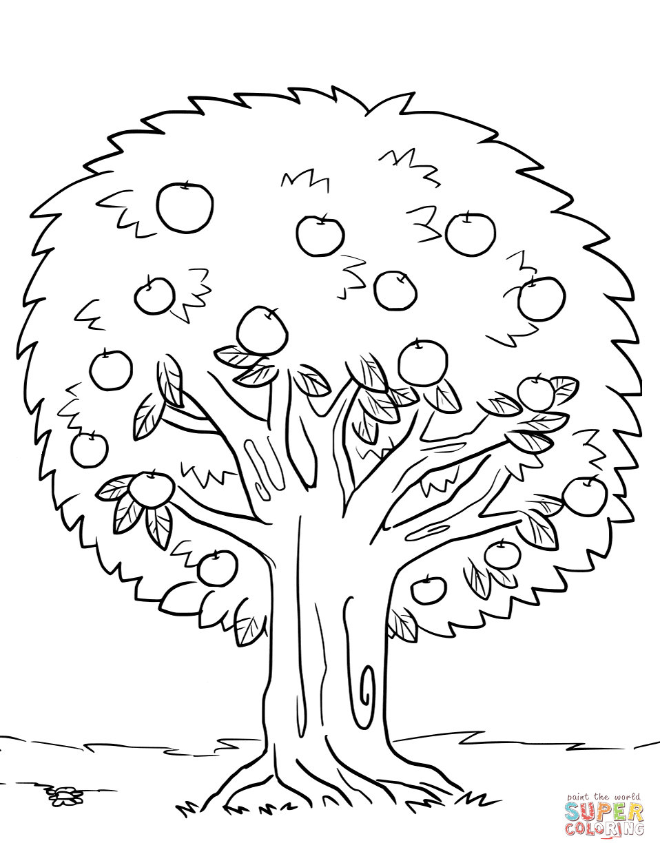 Strong Fruit Tree Coloring Page Apple Free Pri  24058