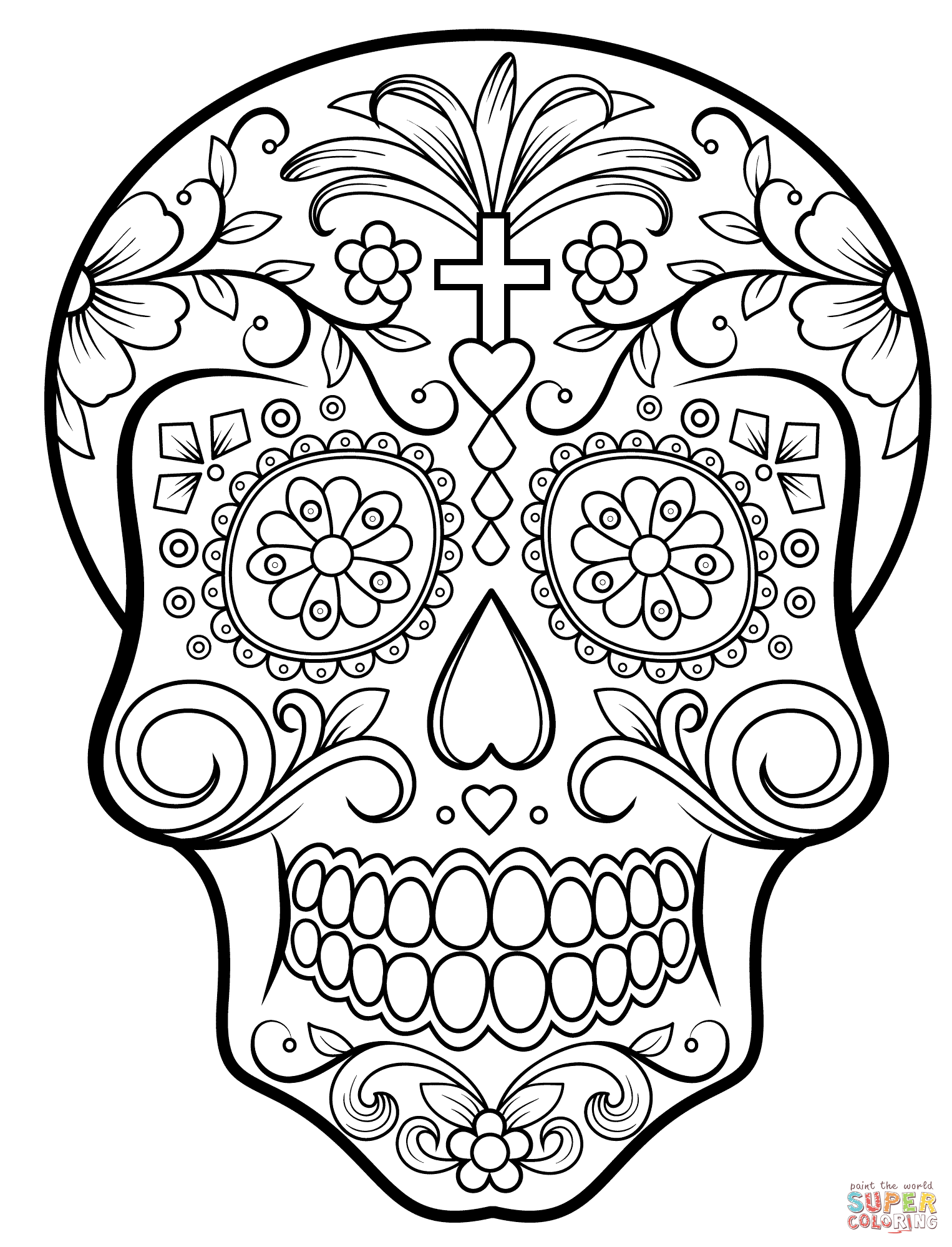 Sugar Skull Coloring Page To Candy Pages