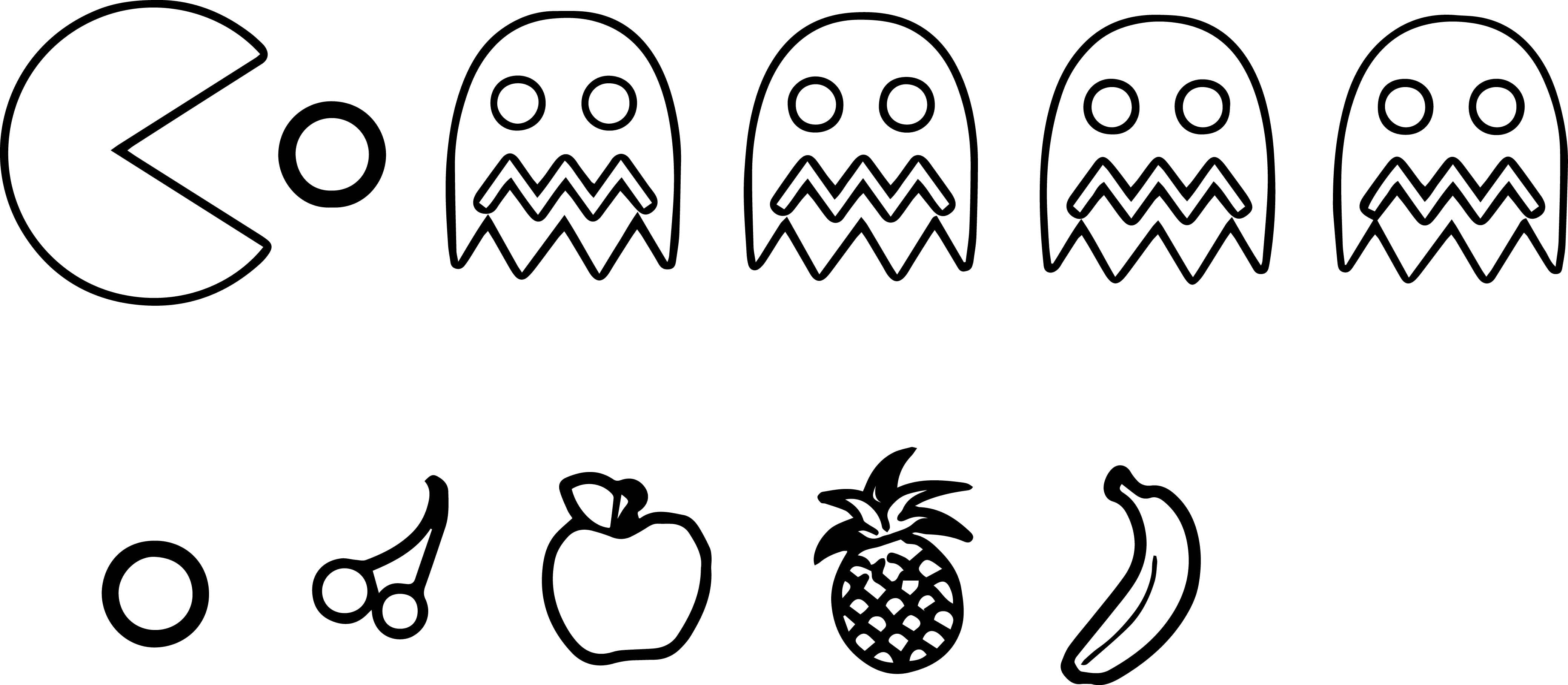 Unique Pac Man Fruit Coloring Pages Gallery Printable Sheet Best