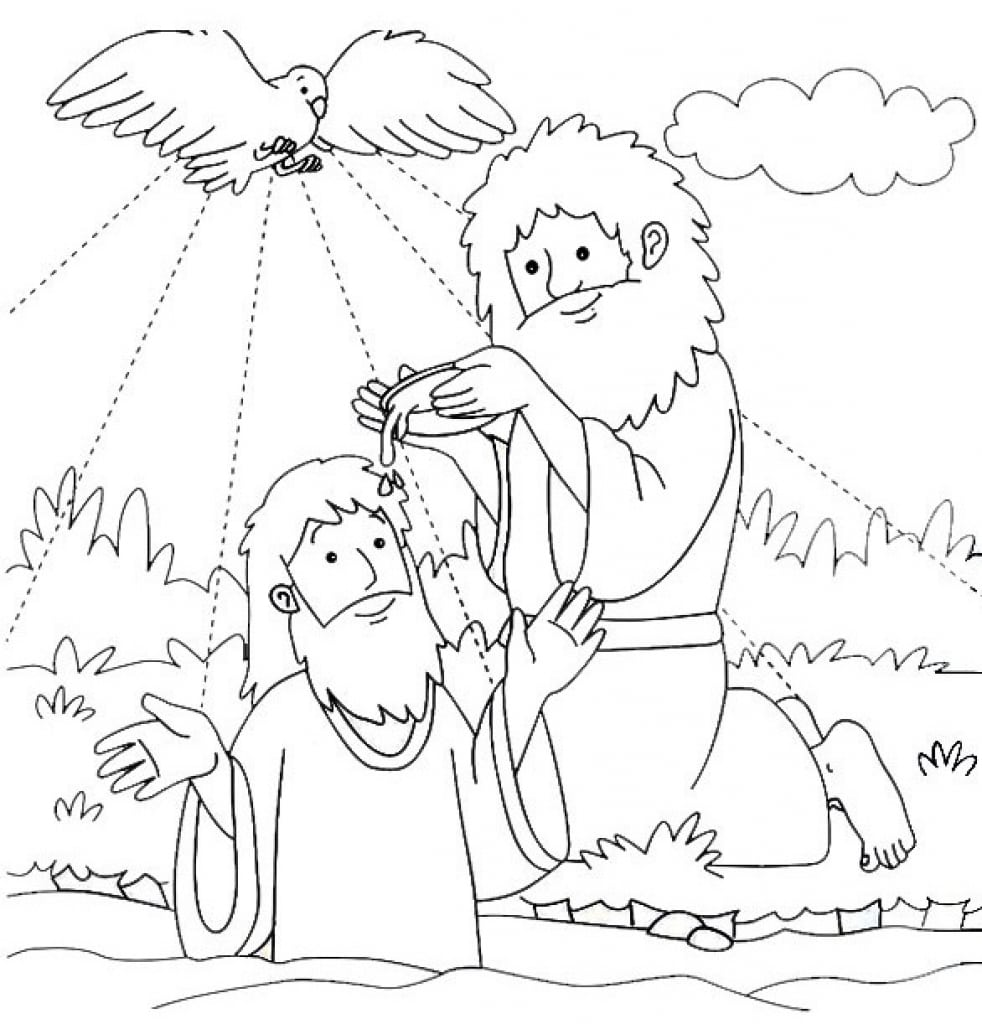 Unlimited Baptism Coloring Pages Printables Je 5633 Unknown In