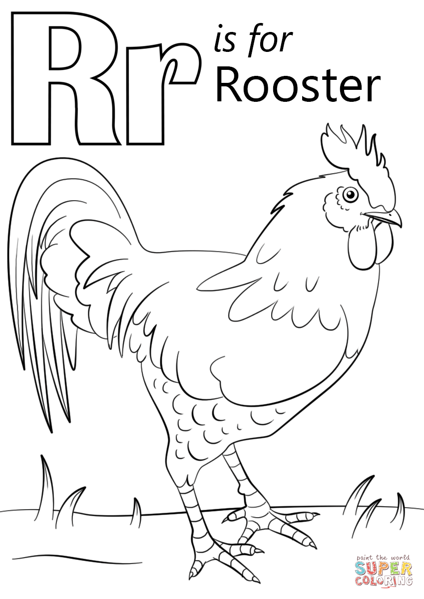 Unparalleled Year Of The Rooster Coloring Page Letter R Is For