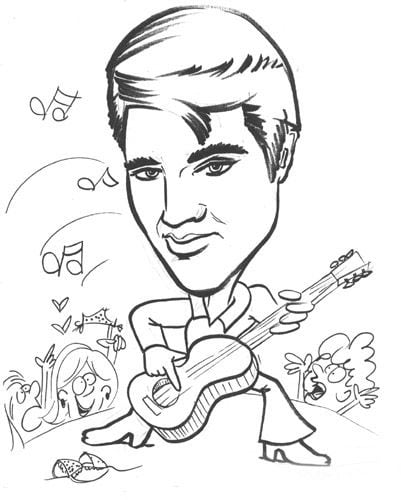Valuable Elvis Coloring Pages Vector Of A Cartoon Impersonator Dog
