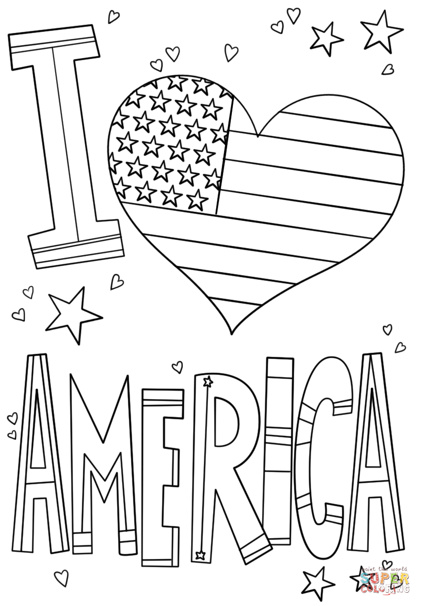 Wanted I Love Usa Coloring Pages America Page Free Printable  12008