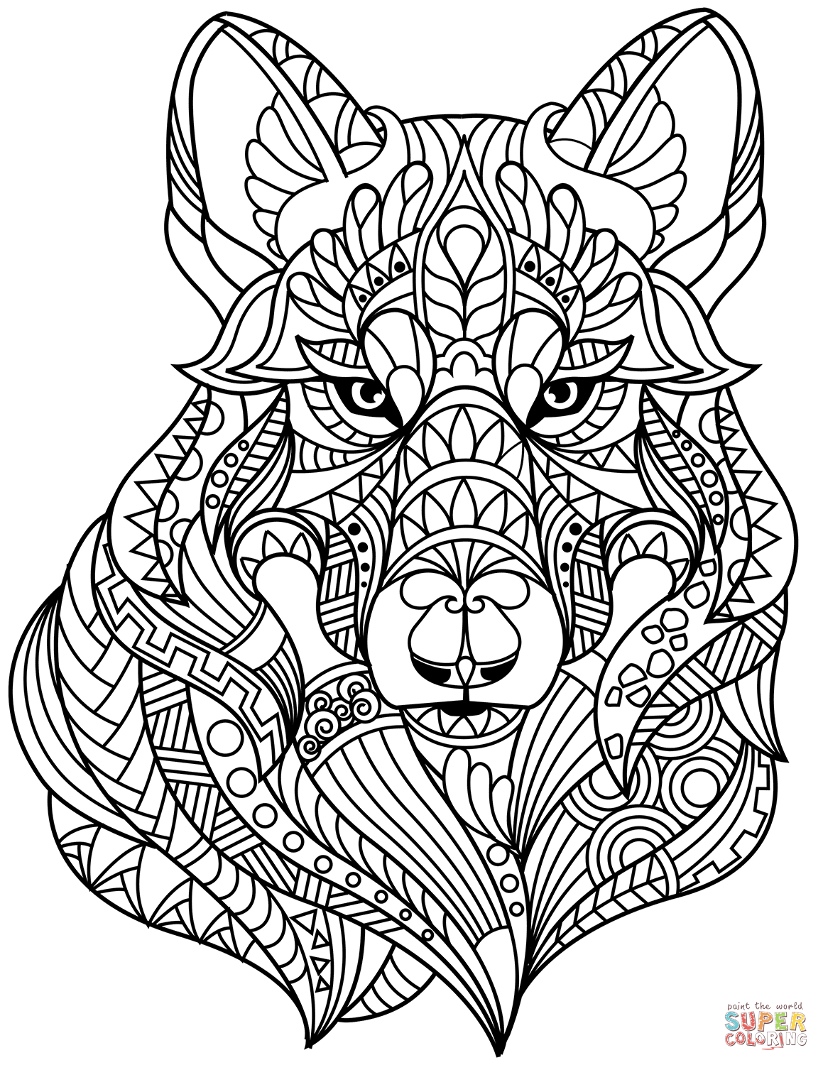 Wolf Head Zentangle Coloring Page