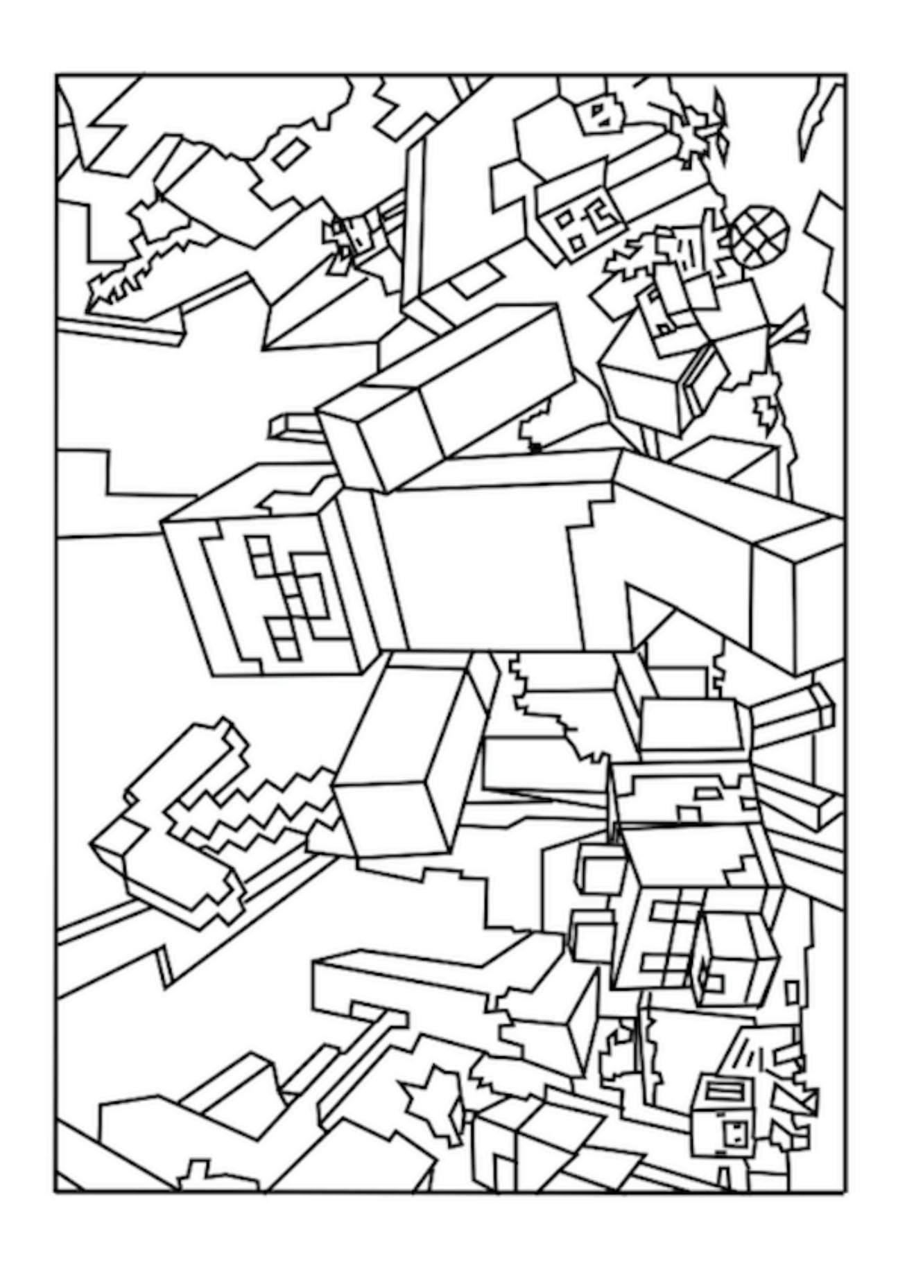 World Minecraft Coloring Pages Free Printable At