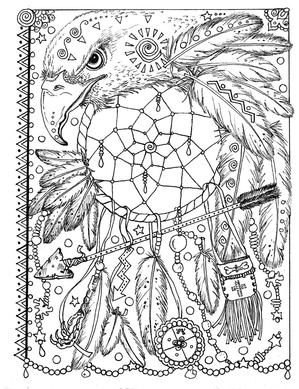 Animal Spirit Dreamcatchers Coloring Fun For All Ages