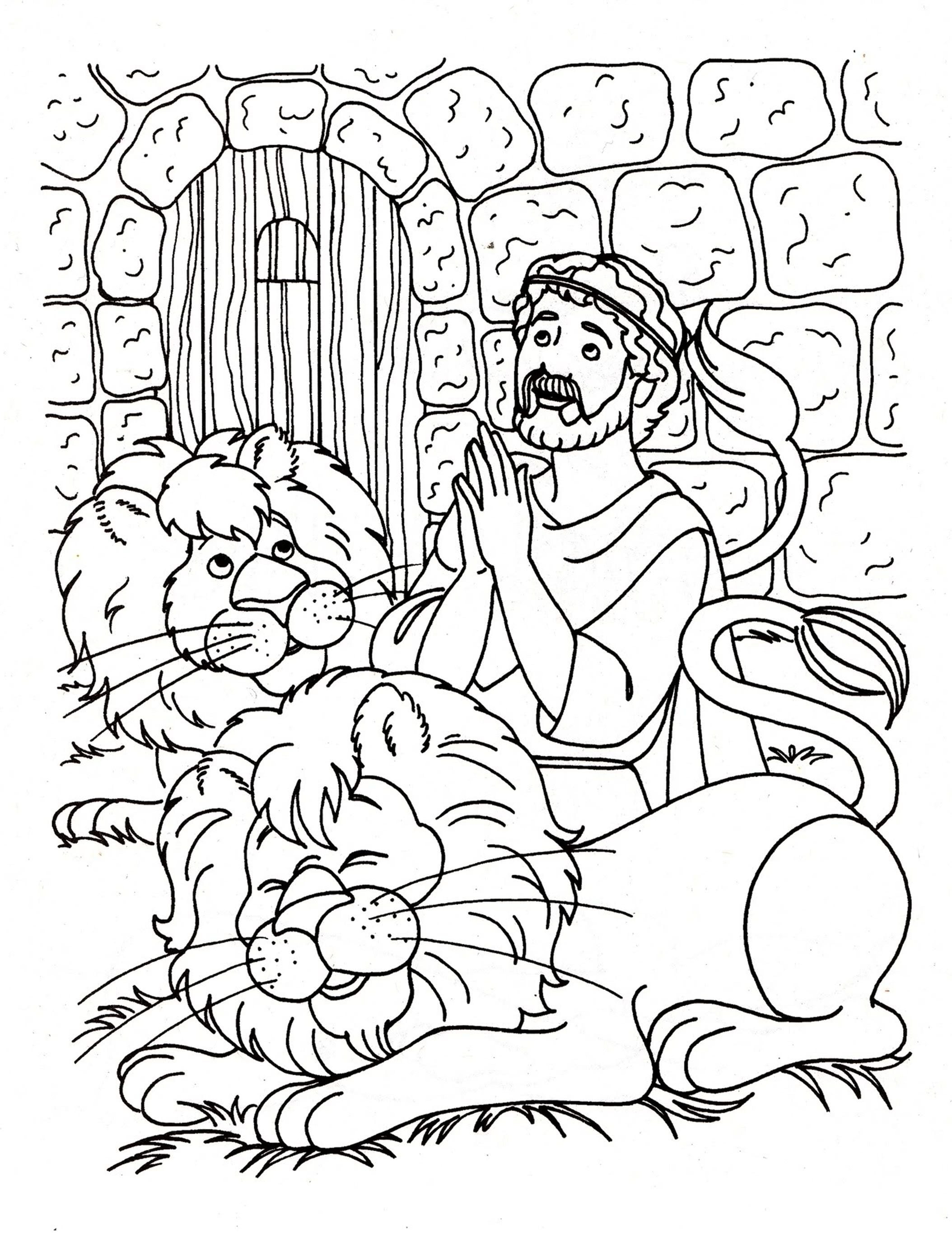 Daniel And The Lions Den Coloring Pages Robertjhastings Coloring