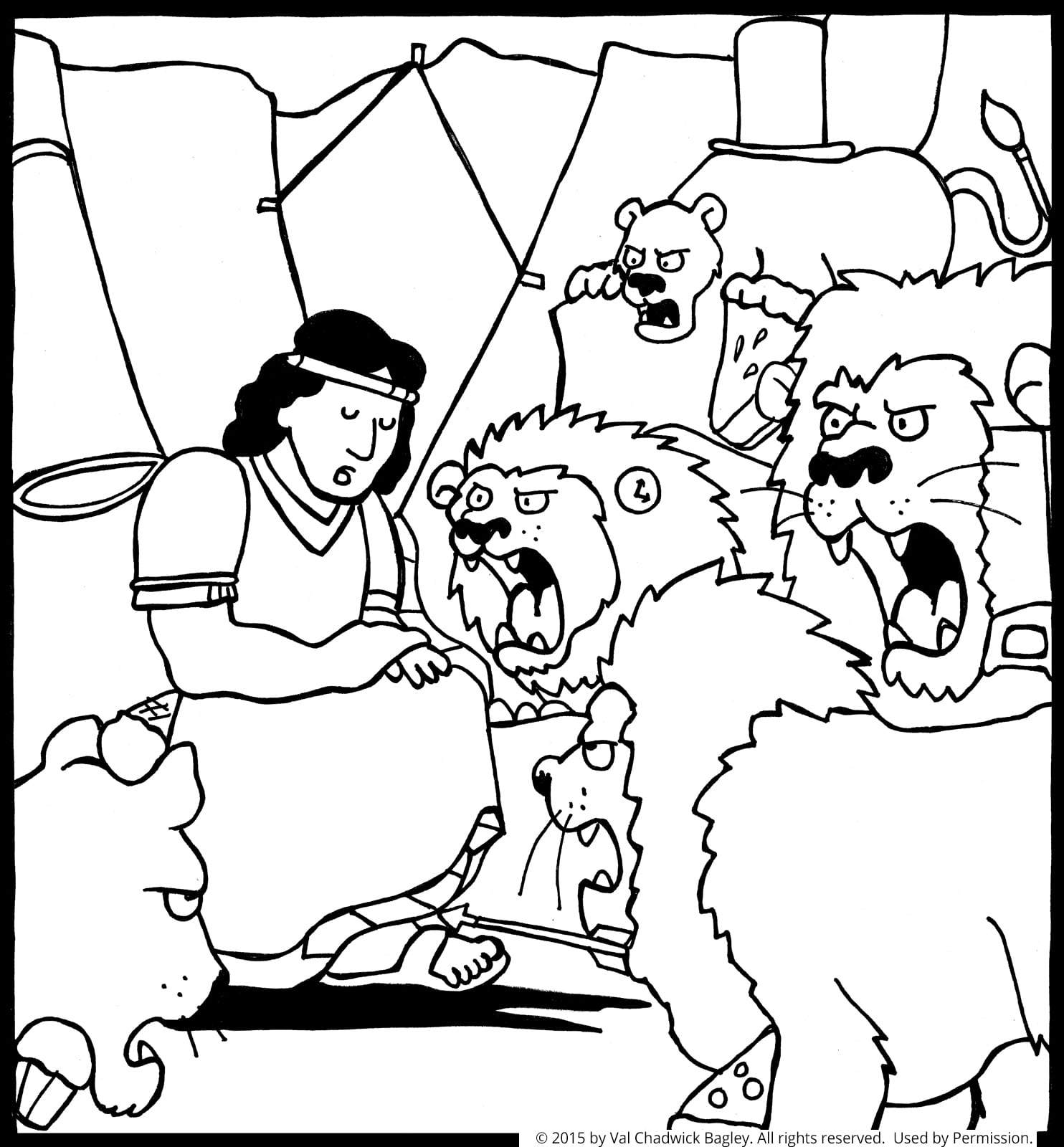 Daniel In The Lion S Den Inside Coloring Page