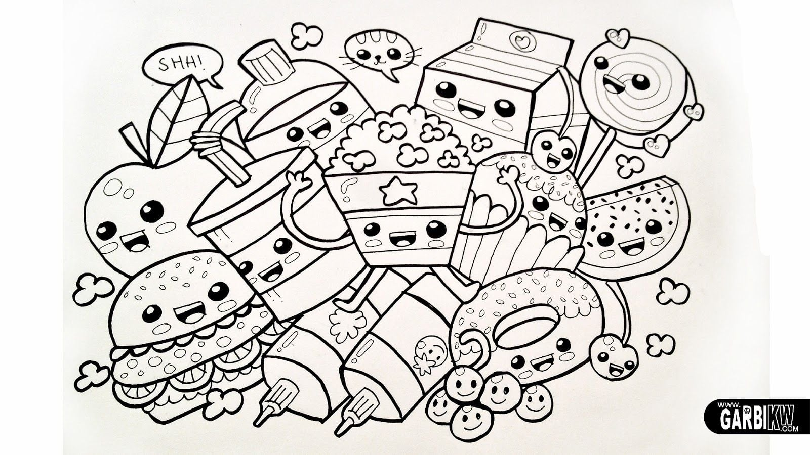 Food Coloring Pages Food Coloring Pages Cartoon Food Coloring Page