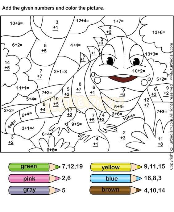 Kindergarten Math Addition Coloring Worksheets 903068
