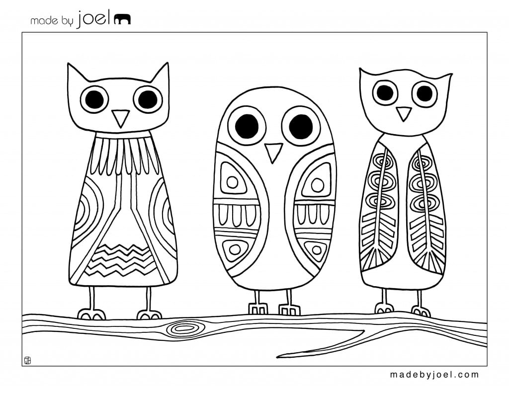 Made By Joel » Owls Coloring Sheet