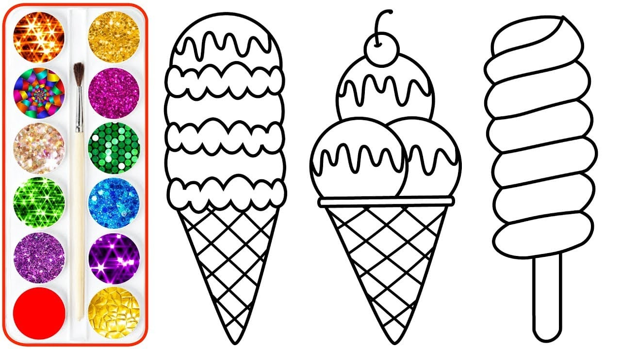 Ice Cream Drawing & Coloring For Kids